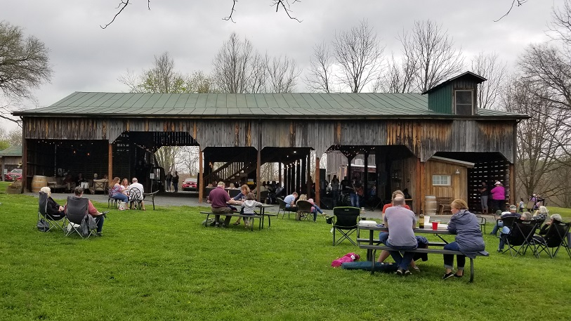 Band under the barn at Mountain Run Winery