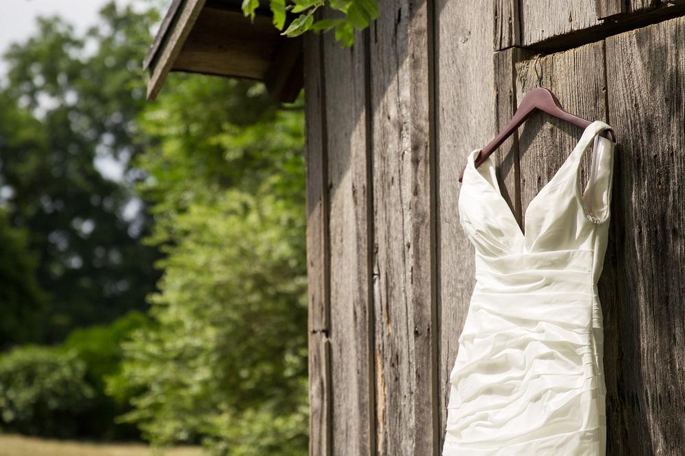 Wedding dress hanging at Mountain Run Winery
