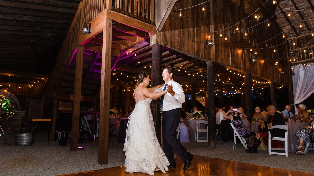 Reception in the pole barn at Mountain Run Winery
